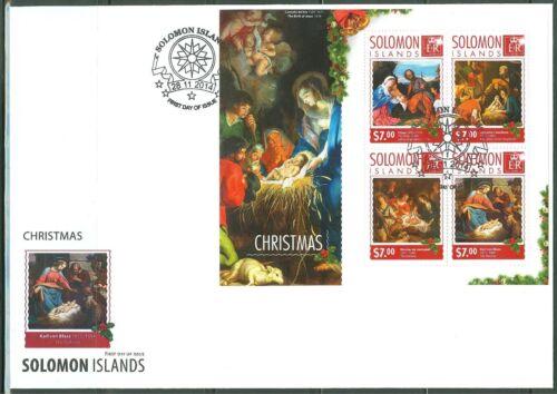 SOLOMON ISLANDS 2014 CHRISTMAS PAINTINGS SHEET FDC
