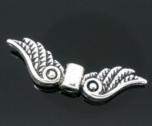 36B 15 ANTIQUE SILVER ANGEL WINGS BEAD//CHARM 23x7mm Create Angel Charm~Earrings