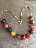 Designer Red Agate Bead Necklace Chunky Gemstone Gold Handmade Jewelry Gift