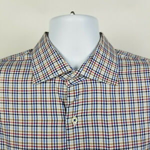 Peter-Millar-Blue-Brown-Houndstooth-Check-Plaid-Mens-Dress-Button-Shirt-Size-XL