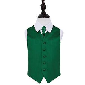 DQT-Satin-Plain-Solid-Emerald-Green-Boys-Wedding-Waistcoat-amp-Cravat-Set