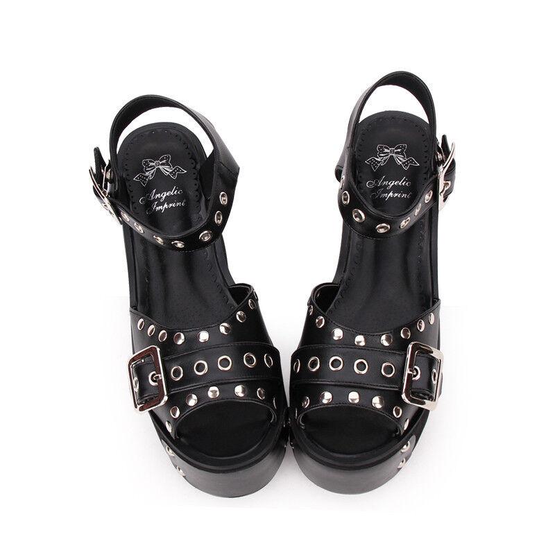 Gothic Punk Schuhe Schuhes Schwarz Sandale Plateau Platform Kostüm Nieten rivet