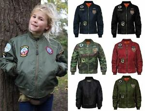 Children Boys Girls Airforce Badges MA1 Harrington Bomber Jacket Coat Army 7-13
