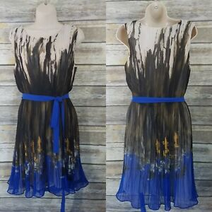 Esley-Modcloth-Talla-M-Vestido-de-gasa-plisado-sin-mangas-de-ajuste-de-FLARE-cintura-lazo-azul
