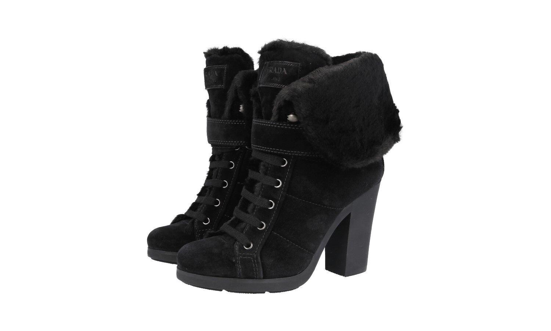 Auténtico De Lujo Piel Forrada Prada Half-Zapatos Bota 3TP024 Negro 36,5 37 Reino Unido 3.5