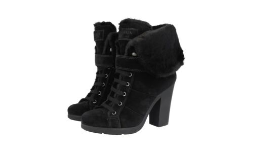 5 6 Prada Luxus 5 New Gefuettert Schuhe Uk 3tp024 Stiefelette 39 Schwarz 40 Neu zHHw7qF