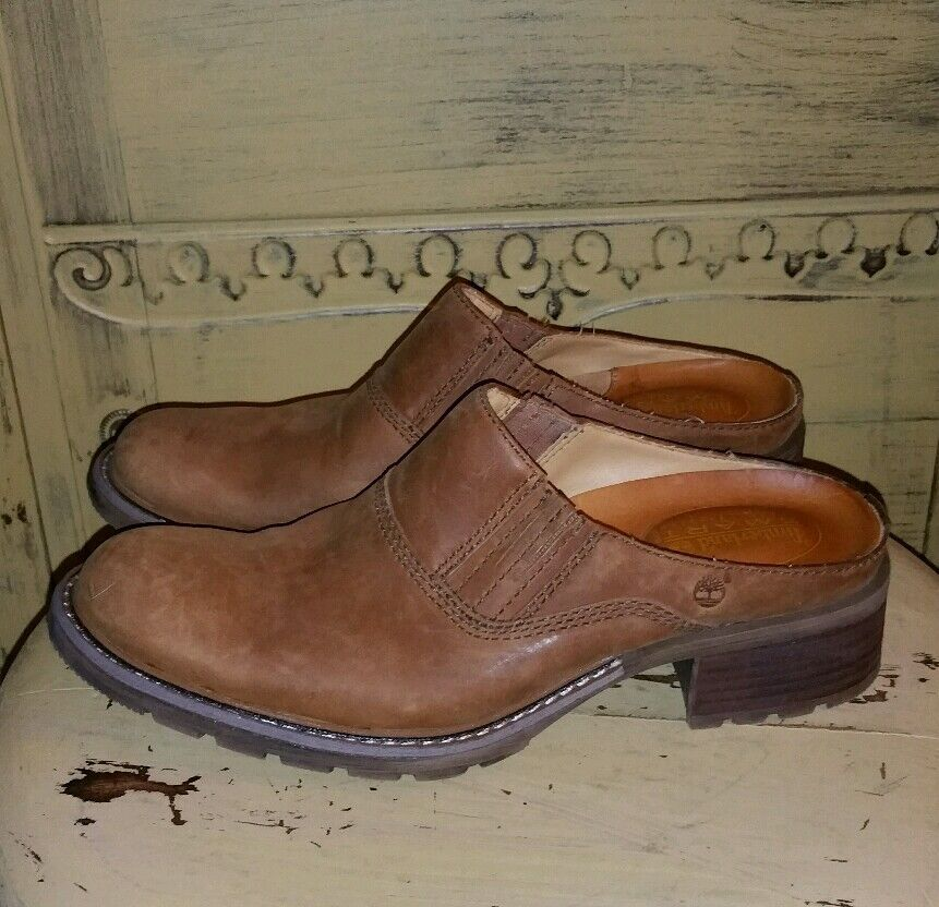 TIMBERLAND HONEY BROWN LEATHER WORK BOOT CLOGS MULES WESTERN 7.5 M COWBOY BOOTS