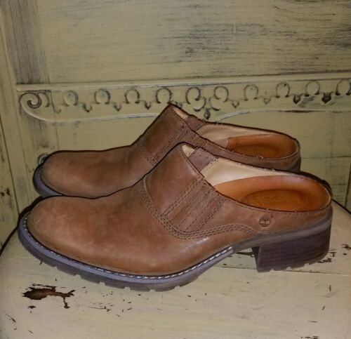 TIMBERLAND HONEY BROWN LEATHER WORK BOOT CLOGS MUL