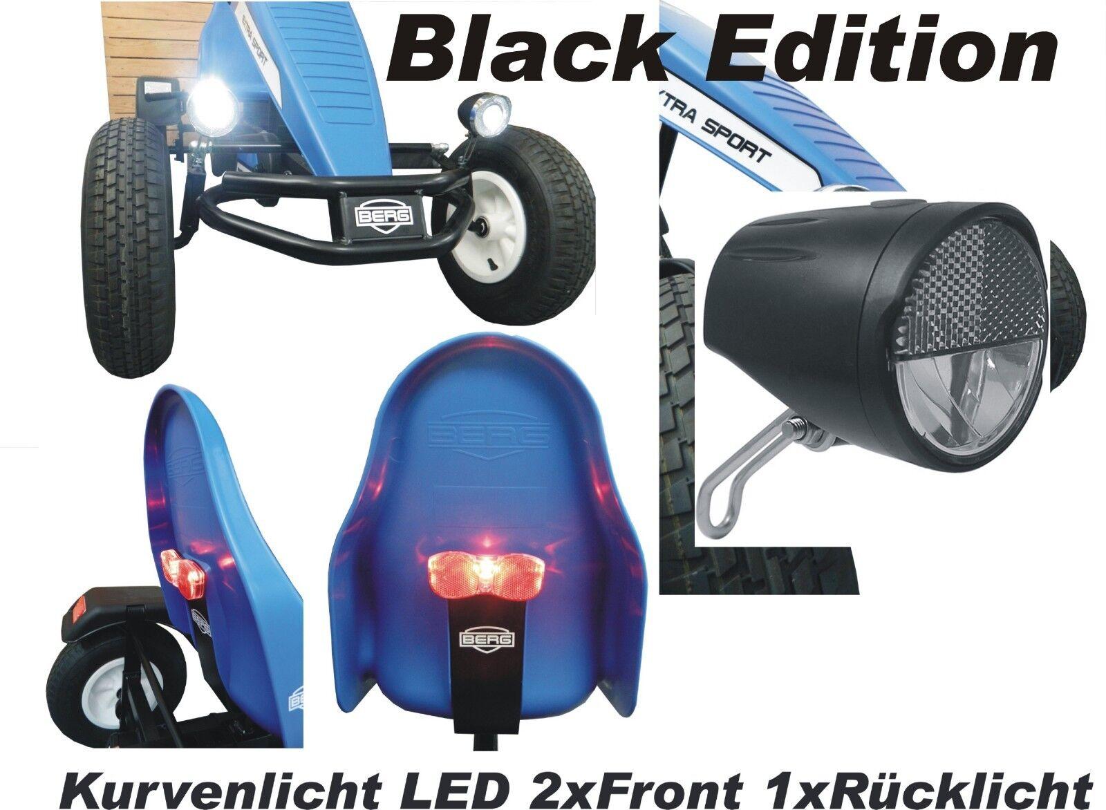 LED Lichtset schwarz Edition Kurvenlicht  2xVorne 1xRücklicht  für Berg Gokart XL