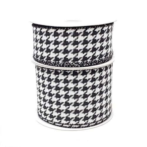 Christmas Black and White Houndstooth Woven Wired Ribbon, 10 Yards