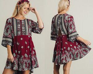 Umgee-Wine-3-4-Sleeve-Back-Cutouts-Peasant-A-Line-Dress-Small-Medium-Large
