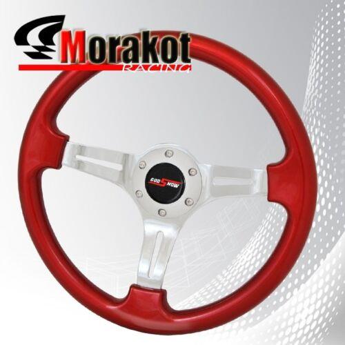 "350mm 1.75/"" Deep Dish Dish Heavy Duty 6 Bolt Steering Wheel Chrome//Metallic Red"