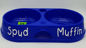 Cat Supplies Dishes, Feeders & Fountains Bnwt Petzplus Personalised Name Blue Twin Bowl 32cm Made In Aus Lustrous Surface