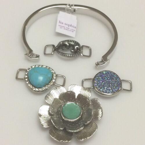 Lia Sophia Change It Up Silver Hinged Bangle Bracelet with Charms~NIB