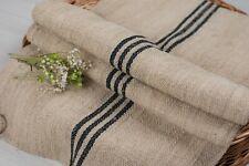 Grain Sack Fabric Black stripe Antique Grain sack fabric hand made
