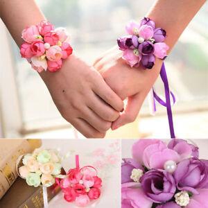 Wedding-Party-Wrist-Pearl-Corsage-Bracelet-Bridal-Bridesmaid-Hand-Wrist-Flowers