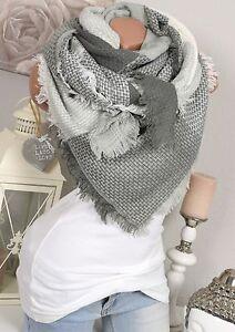 xxl halstuch kariert fransen schal plaid karo stola poncho grau wei scarf. Black Bedroom Furniture Sets. Home Design Ideas