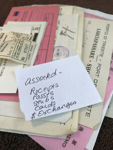 VTG-Lot-70s-Travel-Macau-Hong-Kong-Receipts-Passes-Exchange-Currency-Cards