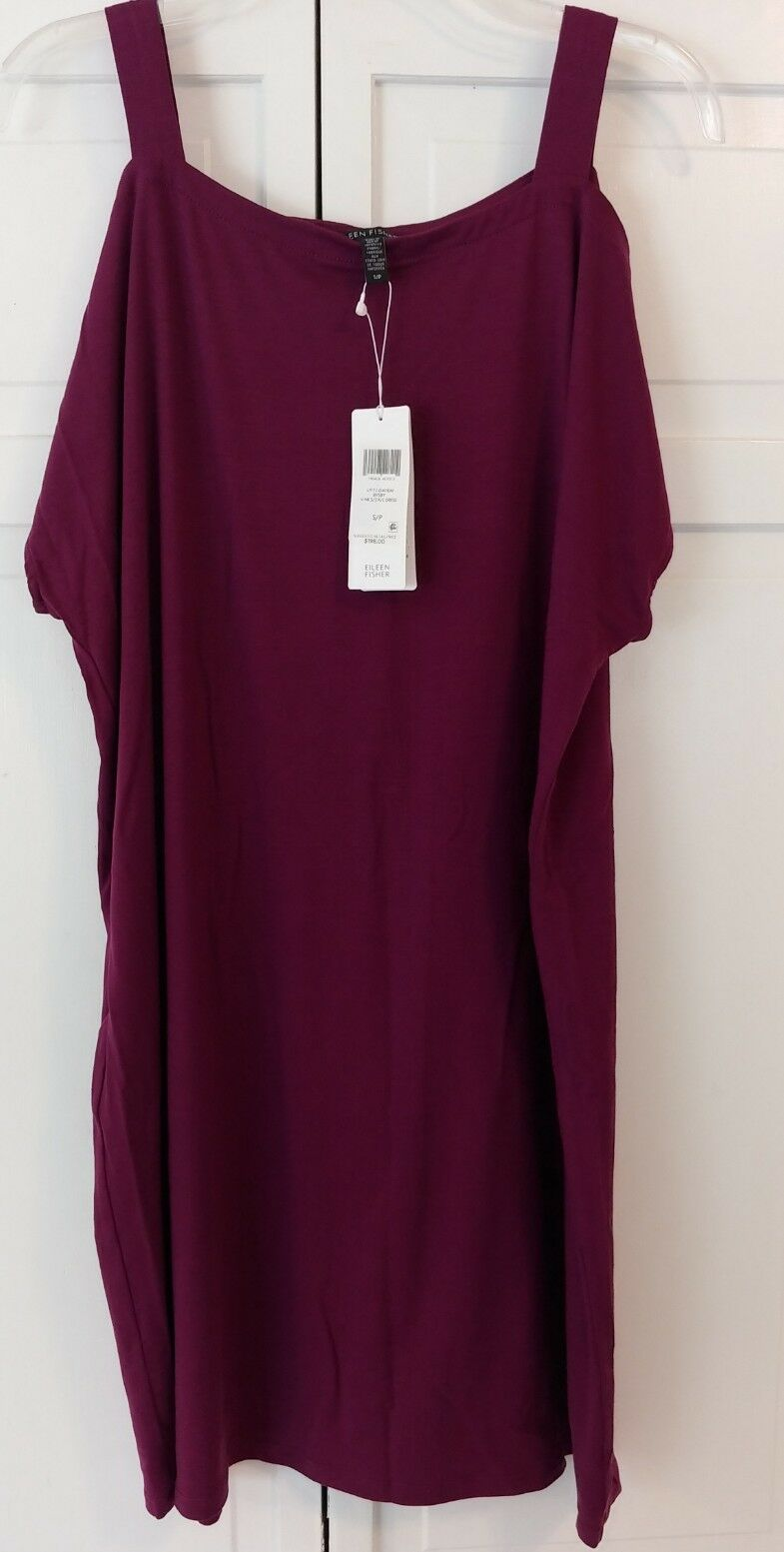 Eileen Fisher Plum Fine Tencel Jersey Stretch Cold Shoulder Dress NWT Size Small
