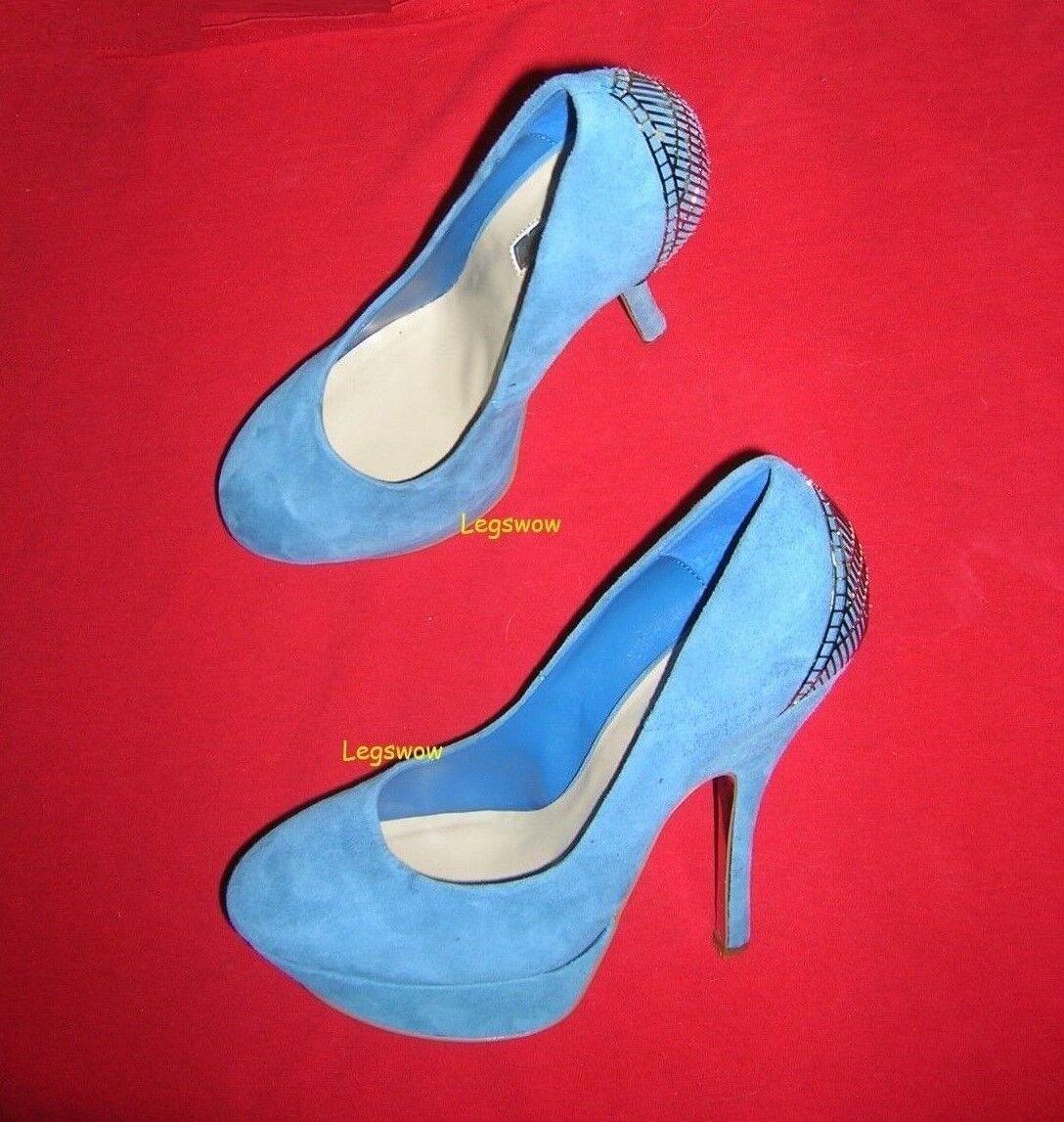 H By Halston Cuero 5.5  Stiletto Zapatos Zapatos Zapatos de tacón para mujer 8.5 plataforma Bombas Azul Nuevo  hasta 42% de descuento