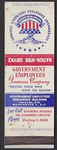 Government Employees Insurance Company Old Matchbox cover ...