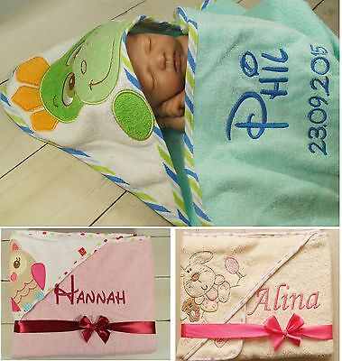 Kinder Handtuch mit Namen bestickt Taufe Geburt Kindergarten Geschenk Baby Motiv