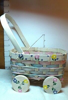 Basket, Baby Buggy ,Spring Theme, Wooden Wheels Turn, Pastel Colors