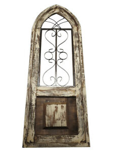 Details About Rustic World Distressed Wood Iron Medium Panel Cathedral Window Frame Beige