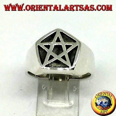 Anello in argento pentacolo esoteri excels in nomine dei nostri satana lucifero