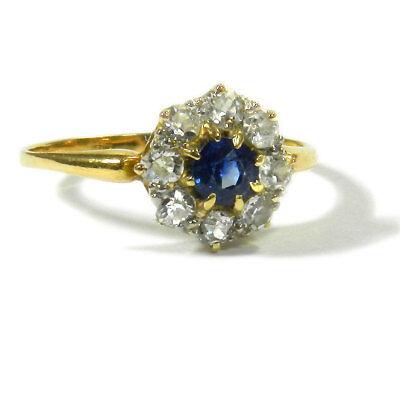 Antiker Saphir & 0,56 ct Diamant Ring in Blütenform Verlobungsring Saphirring