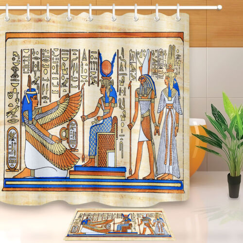 "Egyptian Drawing Goddess Shower Curtain Hooks Bathroom Mat Waterproof Fabric 72/"""