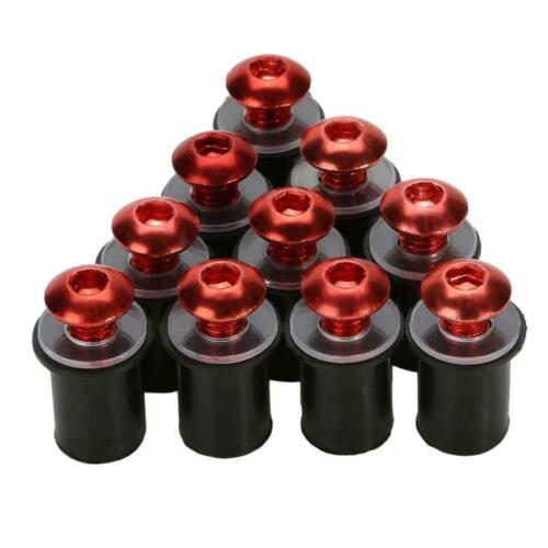 Pack of 5 motorcycle fairing screen well nuts GREEN 5mm 6 colours Kawasaki,