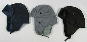 Adults Mens Unisex Fleece Faux Fur Trapper Hat Ear Flaps Black ... 6fb05c2cd30