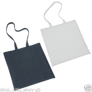 10 Pack 100% Cotton Canvas Shopping Shoulder Tote Shopper Bags Reuse Black White