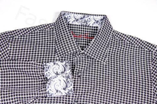 ROBERT GRAHAM Boy/'s 18-20 XL Black /& White Geometric Dress Casual Shirt Wedding