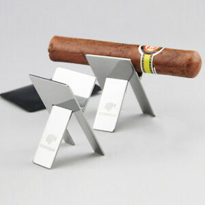 Cohiba-Stainless-Steel-Showing-Cigarette-Cigar-Stand-Holder-Foldable-Ashtray-New