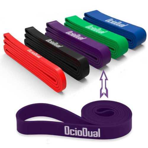 Banda Elastica Resistencia Goma para Fitness Yoga Fuerza Ejercicio 32mm Morada