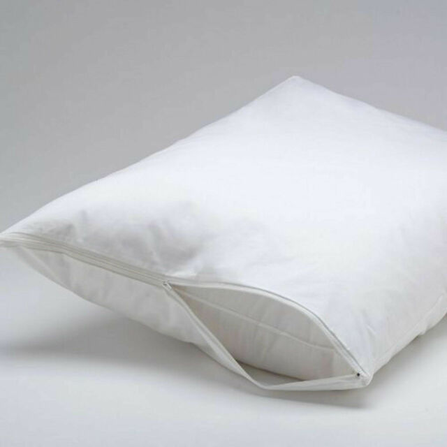 Pillow Protector Pair Standard Feather Down Proof Zip Closure Hypoallergenic NEW
