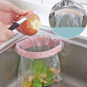 Kitchen-organize-storage-rack-dish-drainer-garbage-bag-trash-bags-holder-hook-F
