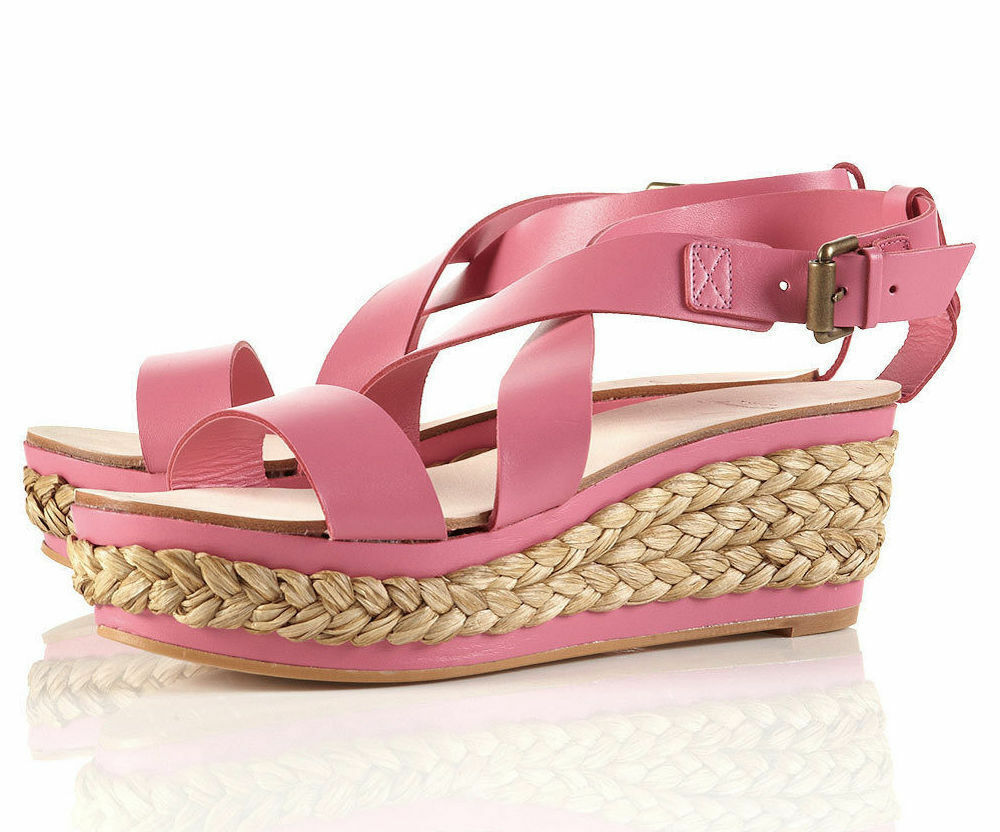 TOPSHOP ESPADRILLE PREMIUM PINK GENUINE LEATHER ESPADRILLE TOPSHOP WEDGES SANDALS Schuhe NEW 1e5d97