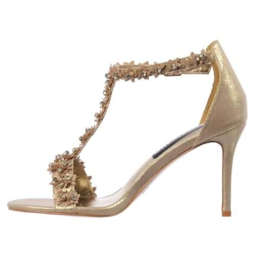 Plata Boda De Mujer Sandalia Tacón Fiesta Pedrería Tiras Y Zapato nw0kOP