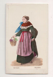 Vintage-CDV-Handpainted-Woman-Alsace-France-Traditional-National-Costume