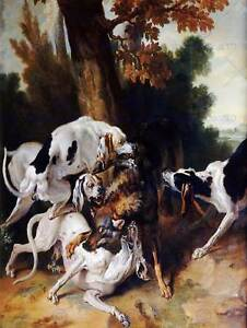 PAINTING-EXTERIOR-STUDY-OUDRY-WOLF-HUNT-ART-PRINT-POSTER-HP1661