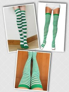 87a99ac3539 St. Patrick s Day Green and White Stripe Socks Striped Knee-Highs ...