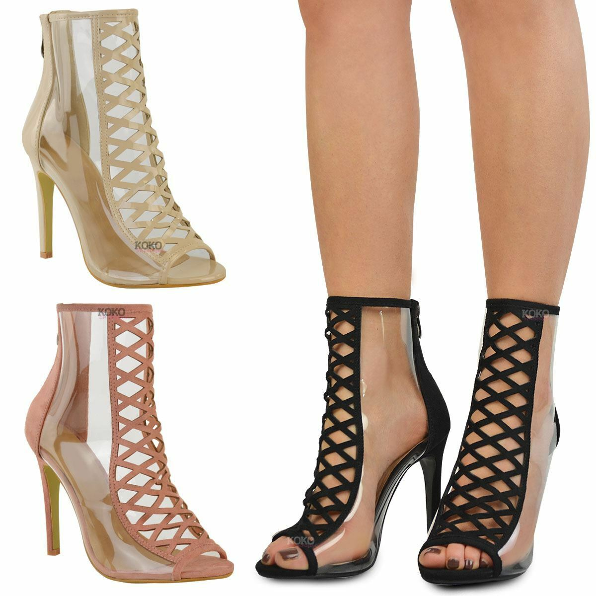 Womens Ladies High Heel Perspex Clear Sandals Celebrity Designer Shoes Size New