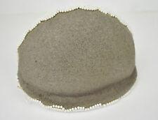 Estelle Allardale Beverly Hills Brown Wool Felt White Beaded Calot Hat 1950s
