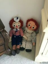 RAGGEDY ANN AND ANDY DOLLS Knickerbocker PAIR 3 foot vintage early 1970s