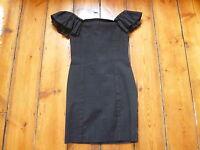 THE KOOPLES BLACK DRESS, 36, 6-8, BODY CON, SHOULDER FRILL