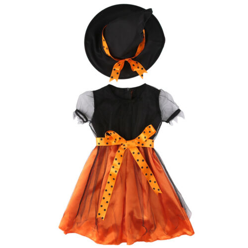Fashion Kids Girls Halloween Party Fancy Dress Witch Vampire Hat Cosplay Costume
