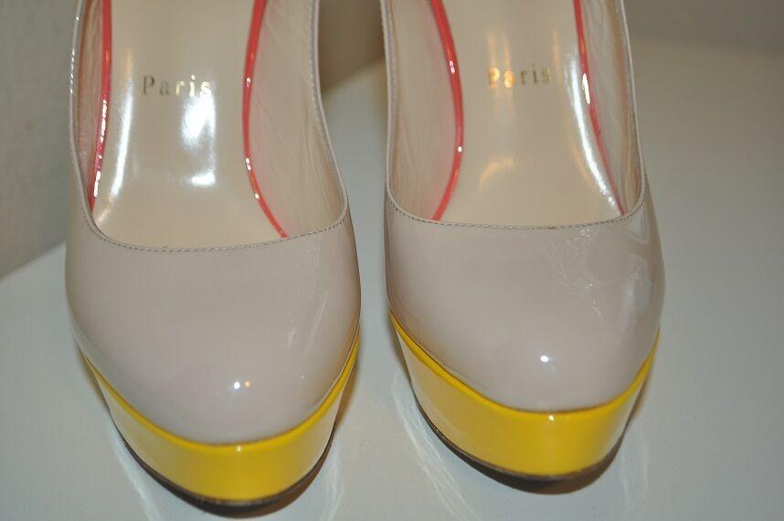Christian Louboutin white Platform Slingback Slingback Slingback Pumps shoes Patent Multi color 36 df5ed0